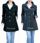 Womans Black Grey Woollen Coat Jacket Long Sleeve Size 22 20 18 16 14 12 10 New