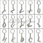 "Alphabet Letter Keyring ""A-Z"" Sparkly Diamante Silver With Shiny Bling Crystal"