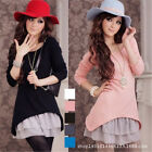 New Women Girl Autumn & Winter Lace Hem Long Sleeve Two-piece Long Knit Dress