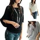 Womens Boat Neck Hollow Loose Batwing Sweater Jumper Pullover Knit T Shirt Tops