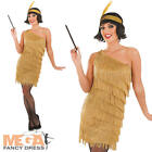1920s Gold Flapper Dress Ladies Fancy Dress 20s Gatsby Womens Costume Outfit New