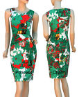 Floral Print Cocktail Day Pencil Dress Green Coral White Size 10 12 14 16 New
