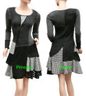 Long Sleeve Patch Dress with Lace Plaid Black Grey White Size 8 10 12 14 16 New