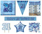 21st Birthday/Age 21 - BLUE PARTY ITEMS Decorations Tableware - Large Range