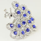 white gold GP Silver blue sapphire swarovski crystal peacock cocktail ring Z599