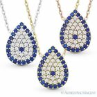 Evil Eye Water Drop Turkish Nazar Charm Pendant Necklace in .925 Sterling Silver