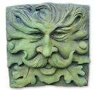 "Large Square green man wall plaque frost proof stone 30cm sq ""Mr. Moustache"""