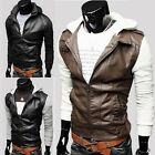 New Fashion Men's PU Leather Splicing Coat Sweater Sleeve Slim Fit Hoodie Jacket