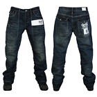 MENS GIO-GOI LOGO ROUGH BLUE STRAIGHT FIT CREASE JEANS ALL WAIST AND LEG SIZES