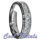 6mm Tungsten Carbide Princess Cut CZ Stepped edge Wedding Band Ring Size 5-15