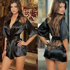 exy Women Satin Lace Lingerie Ladies Lace Sleepwear Nightwear Nightdress Robe B2