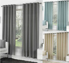Lined Eyelet Curtains, Ready Made Ring Top Curtain Pairs, 100% Cotton Weave