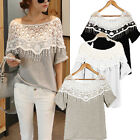 UK 8-24 Women Hollow Lace Crochet Shoulder Batwing Short Sleeve Shirt Blouse Top
