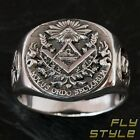 925 SILVER FREEMASON SIGNET RING Knights Templar Cross Mason Masonic Illuminati