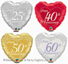 10 x 25th 40th 50th 60th Happy Anniversary Foil Heart Helium Balloons Decoration