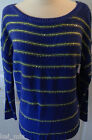~a.n.a~ Blue/Yellow Striped Sweater w/Gold Sequin Size S/M/L~NWT