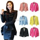 Hot Women Blazer OL Patwork Suit Coat Lady 3/4 Long Sleeve Jacket Outerwear Tops