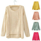 Women's Casual Crew Neck Long Sleeve Pullover Jumper Casual Sweaters Free Size