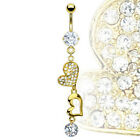 Gold Plated Prong Set Gem with Gold Plated Heart and CZ Dangle Belly Navel Ring