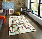 Modern Bold Multi Coloured Off White Hand Tufted 3D Geometric Design Floor Rugs