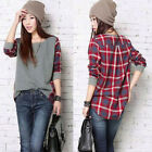 UK 8-26 Women Plaid Checked Long Sleeve Casual Loose Tee Shirt Top Blouse Jumper