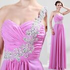 Formal Evening Long Gown Party Prom Ball Bridesmaid Dress Size UK 6-20 Pleated