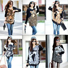 Women Batwing Sleeve T-Shirt Animal Print Blouse Top Loose Knitted Sweater