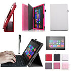 Travel Portfolio Cover Faux Leather Case Stand for Microsoft Surface RT 2 Tablet