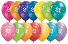 """Pack Of 6 Qualatex 11"""" 21st Birthday Party Balloons Age 21 (Helium Quality)"""