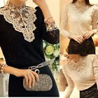 Fashion Womens High Neck Long Sleeve Lace Tops Stretch T-Shirt Blouse Pullover