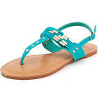 Womens Flats T Strap Sandals Summer Shoes Ankle Buckle Thongs Gold Inlay & Studs