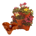 Flower Pots Pot Holder Stackable Plastic 3 Plants Strawberry Herb Planter Garden