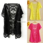 Women's Hollow-Out Retro Blouse Shirt Lace Embroidery Floral Crochet Cardigan SH