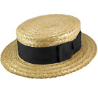 Straw Boater - Black Band and Bow  - Made by Olney