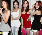 New Korean Sexy Women Stylish Open Back Peplum Spaghetti Strap Cami Tee Tank Top
