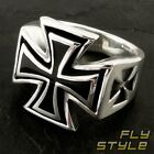 IRON CROSS STAINLESS STEEL RING silver biker freemason templar knight harley v8