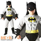 Boys Deluxe Batman Muscle Kids Superhero Fancy Dress Halloween Costume Ages 3-8