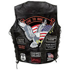 BLACK MEM'S GENUINE LEATHER MOTORCYCLE VEST WITH 14 PATCHES GFVBIK14