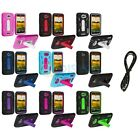 Color Hybrid Heavy Duty Hard/Soft Case Cover+6FT Aux for HTC One X / XL