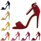 FAUX SUEDE HIGH HEELS PEEP TOE SHOES SANDAL PARTY CASUAL ANKLE STRAP SIZE US4-11