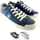 Mens Replay Eamon Lace Up Wash Out Flat Canvas Casual Denim Trainer Shoe UK 7-12