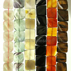 A Strand 15'' inches New Carnelian Natural Agate Gemstone Square Loose Beads