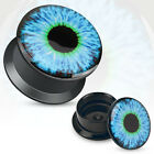 Pair Black Acrylic Blue Eyeball Print Screw Fit Plugs Earrings Gauges