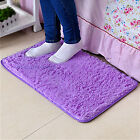 Bathroom Bedroom Door Floor Mat Rug Shaggy Fluffy Anti Non Slip Soft Gray/Purple