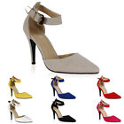 Womens New Buckle Ankle Strap Ladies Evening High Heel Pointed Shoes Size 3-8