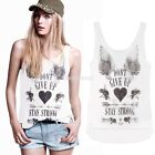 Sexy Womens Wing Letter Heart Sleeveless Tank Top Cami T-Shirt Vest Blouse C99D