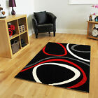 Cheap Rich Red Grey Black Quality Mat Stain Resistant Circle Patterned Floor Rug