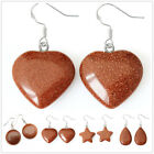 EH807 925 Silver Hook Natural Brown Sandstone Earrings
