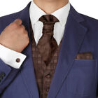 VS2024 Brown Plaid Mens Tuxed Vest Waistcoat Set Ascot Tie Cufflinks Hanky Y&G