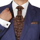 VS2035 Brown Plaid Mens Tuxed Vest Waistcoat Set Ascot Tie Cufflinks Hanky Y&G